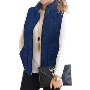 NWT Navy Zip Up Houndstooth Quilted Puffer Vest